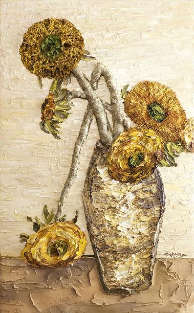 第三世多杰羌佛油畫作品《向日葵》