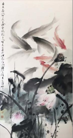 H.H.第三世多杰羌佛的畫作絕世神品「龍鯉鬧蓮池」