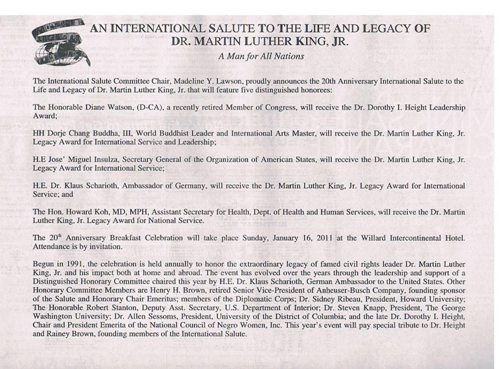 """H.H.第三世多杰羌佛獲得的馬丁路德金""""國際服務及領袖獎"""" H.H.第三世多杰羌佛 第三世多杰羌佛 多杰羌佛"""
