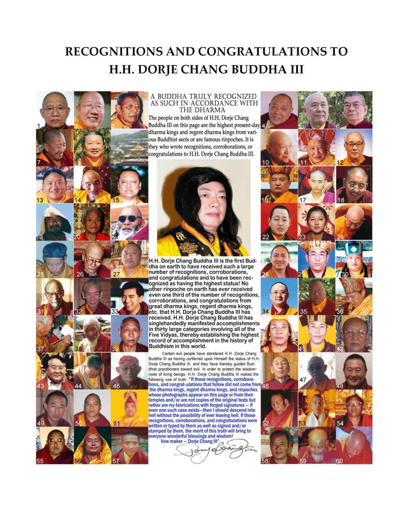 The Status of Namo His Holiness Dorje Chang Buddha III as the Highest Leader of Buddhism in the World Is Not Self-Conferred